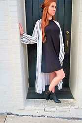 Madison Boyer - Handpicked Boutique Striped Duster Cardigan, Handpicked Boutique Black T Shirt Dress - Casual Fall