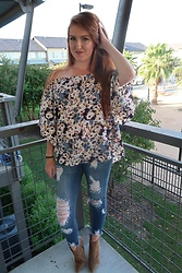 Madison Boyer - Handpicked Boutique Floral Top, Kancan Distressed Jeans, Vince Camuto Congnac Booties - Fall OTS Top