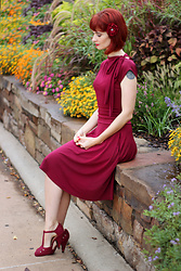 Bleu Avenue - Modcloth Burgundy Bow Dress, Qupid The Zest Is History Heels In Burgundy - ModBow