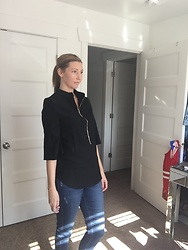 Cindy Batchelor -  - Black 3/4 Sleeve Zip Front Blouse and Jeans