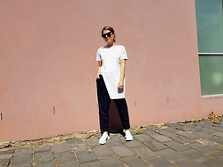Angharad Jones - Cos Top, Cos Trousers, Adidas Trainers - White and Navy