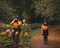 Ragini R - Monki Polka Dot Top, Primark Forest Green Corduroy Skirt, Asos Crochet Tights, Topshop Tassel Loafers, Brit Stitch Half Pint Satchel, Primark Embroidered Headband - Autumn in the Dene