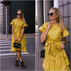 Madara L - Shein Midi Dress, Quiz Clothing Lace Up Heels - Hello mellow yellow