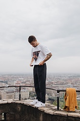 Kevin Elezaj - Converse Sneakers, Topman Suit Pants, Asos T Shirt - Budapest from above