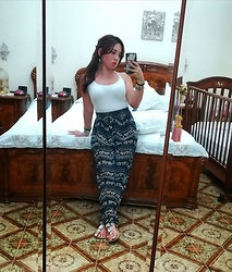 Maria Elena - Terranova Yoga Pants, Terranova White Top, Bata Jewelry Sandals - Yoga Day