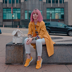 Jessie Bee - Metisu Striped Sweater, Reebok Classic Nylon Sp, Vintage Yellow Longline Trench, Cheap Monday White High Rise Denim, Zara Bucket Bag, Mockberg Gold Watch - The Number 12