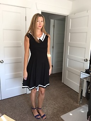 Cindy Batchelor - Black And White Collar Striped Dress - Black and White Collar Striped Dress