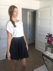 Cindy Batchelor - White Slouch Off The Shoulder Tee, Black Mini Skirt - White Sleek Tee and Black Mini Skirt
