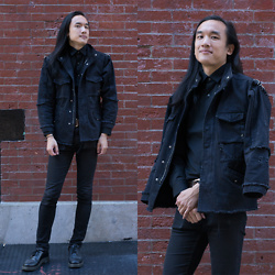 Xanthium James - Oak Distressed Denim Work Jacket, Uniqlo Easy Care, Cheap Monday New Black, Dr. Martens 1491 - Z