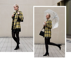 Sabine K - H&M Sock Boots, J. W. Anderson Pierce Bag, Handmade Checkered Coat - Grunge Rain