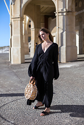 Jenelle Witty - Black Maxi Dress, Cult Gaia Bag - BLACK MAXI DRESS CULT GAIA