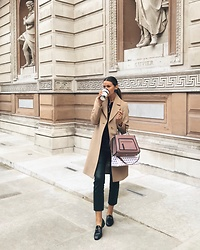 Julia Lundin - Jaeger Coat, Day By Malene Birger Trousers, Fendi Bag, Gucci Loafers - Camel