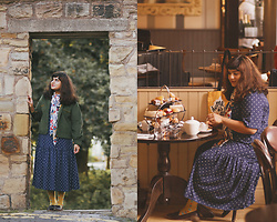 Ragini R - Monki Polka Dot Dress, Redbubble Tile Print Scarf, Handmade Corduroy Trucker Jacket, Tabbisocks Nordic Knee Socks, Topshop Burgundy Loafers - Birthday Girl
