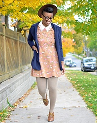 Sushanna M. - Thrifted Brown Hat, Thrifted Vintage White Perforated Collar Blouse, Thrifted Floral Double Breasted Dress, Thrifted Brown Wingtip Oxfords - Cake Walk