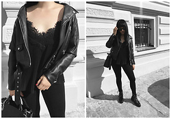 Izabela - Zara Linen Top, Sabrina Pilewicz Monopoli Bag, Zara Fake Leather Jacket, Mango Black Sunnies, Zara Leggins, Zara Biker Boots - ALL BLACK EVERYTHING