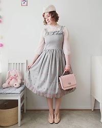 Mari Susanna - Cloudberry Lady Bunny Hat, Kalevala Jewelry Pearl Pracelet, Souvenir From Rome Purse, Innocent World Wool Dress With Rose Embroidery, Minna Parikka Bunny Ear Shoes - A grey dress for a grey day