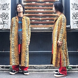 @KiD - Vintage Tiger Striped Coat, Germs Gi, Code Red Wide Pants, North Wave Espresso - JapaneseTrash448