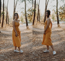 Adriana R. - Shein Button Up Cami Dress (Yellow), White Converse All Star - Fall Vibes With A Yellow Summer Cami Dress