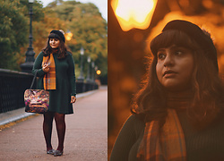 Ragini R - Primark Forest Green Jumper Dress, Primark Mustard Check Scarf, Asos Crochet Tights, Topshop Tassel Loafers, Topshop Bobble Beret - Autumn cosy