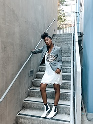 Kenesha Trenea - Forever 21 Plaid Blazer, Silk Dress, Quay Fanny Pack, Boots - You follow, I'll lead