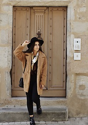 Pretty-Roxanne Stratmains ☥ - Pimkie Black Hat, La Halle Brown Coat, Bershka Black Pant, River Island Black And Gold Boots, Torrente Brown And White Scarf - Believe