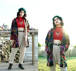 Lexi L - Turtleneck Crop Tank, Goodwill Abstract Art Coat, Moroccan Touch Harem Pants, Black Ankle Boots, Green Beret - Change of Destination