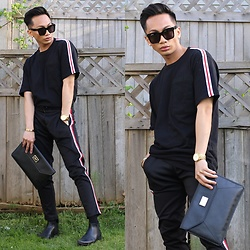 Paul Zedrich - Céline Tilda Sunglasses, Zara Striped T Shirt, Zara Trousers With Side Stripes, Asos Leather Chelsea Boots, Michael Kors Envelope Clutch - Issa Look 😎👀