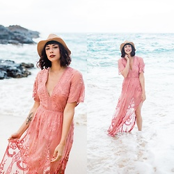 Mackenzie S - Nordstrom Lace Romper Maxi, Brixton Straw Fedora - My Heart is in Hawaii