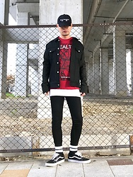 ★masaki★ - Kollaps Electronica, Odynvovk Denim/Leather Jacket, Health Tee, H&M Skinny Jeans, Vans Oldskool - Music×fashion
