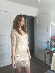 Cindy Batchelor - Beige And Gold Sequin Dress - Beige and Gold Sequin Dress