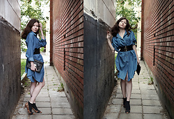 Jane Zubova - Romwe Denim Shirt, Asos Ring Belt, Asos Clutch, Tally Weijl Leopard Heels - Shirt like a dress