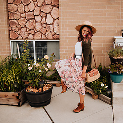 Cecilia H - Floral Skirt, Sea & Grass Mia Crossbody, Forever 21 White Bodysuit - Floral and Hints of Straw