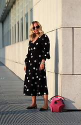 Eniwhere Fashion - Mango Polka Dot's Dress, Zara Slingback, Gen Reynaud Pink Bag - How to wear a polka dot's dress