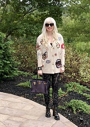 Shannon D - Alice + Olivia Cardigan, Kova & T Black Lace Leggings, Louis Vuitton Boots, Hermès Bag, Chanel Cuff - Alice & Olivia Embellished Cardigan