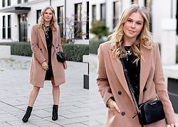 Sunnyinga - Reserved Camel Coat, Reserved Dress, Reserved Heels, Karl Lagerfeld Bag - Camel Coat Love - Fall Outfit
