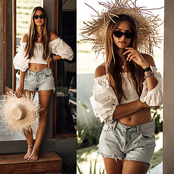 Jacky - Styleaddict Shirt, Levi's® Shorts - Bali Travel Outfit: Straw Hat and Denim
