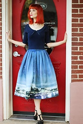 Bleu Avenue - Chic Wish Night Skyline Of London Skirt, Collectif X Mc Nostalgic Darling Cropped Sweater, Qupid With Haute A Doubt Heels - Eye on the Prize