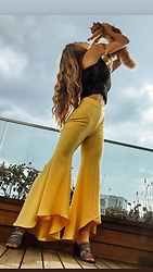 Imgoshka - Zara Yellow Flared Pants - Spanish flame