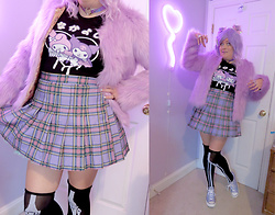 PastelKawaii Barbie - Tee Public My Melody Angel Kuromi Demon, Aliexpress Lavender Faux Fur Coat, Cutie Kill Purple Plaid Skirt, Candy On Acid Lavender Wig, Pink Bat Bows, Ebay Purple Holographic Heart Choker, Shein Skeleton Otk Socks, Journeys Lavender Converses - 💜Fuzzy Monster Demon💜