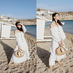 Karolina G. - Shein White Maxi Bardot Dress, Shein Straw Tote Bag, New Look White Peep Toe Flat Slingbacks - Mykonos- fleet foxes