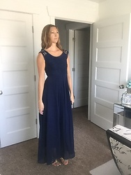 Cindy Batchelor - Sleeveless Blue Maxi Dress - Sleeveless Blue Maxi Dress