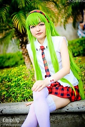 Nicole B. - Leg Avenue Stockings, Green Wig, Red Skirt, Custom White Collar Shirt, Handmade Tie, Handmade Headband - (Cosplay): C.C, Code Geass (Artbook)