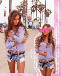 Jenny M - Zara Striped Oversized Shirt, American Eagle Outfitters Cutoff Denim Shorts - TO LIVE & DIE IN LA // thehungarianbrunette.com