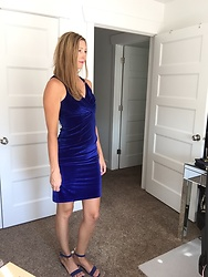 Cindy Batchelor - Blue Velvet Sleeveless Dress - Blue Velvet Sleeveless Dress