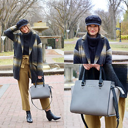 Taylor Doucette - Only Wool Plaid Jacket, Aritzia Trousers With A Tie, Brixton Cabbie Hat, Michael Kors Selma Purse - I Got You Babe - Goldspot