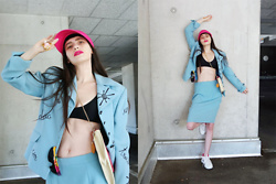 †Norelle Rheingold† - Thrifted Visor Tennis Cap (Pink), Bestini Paris Blazer Jacket And Skirt, Escada Melon Bag, Nike Tennis Shoes - Welcome to Miami!