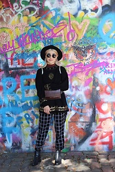 Weronika Bukowczan - River Island Chequered Trousers, Tkmaxx Belt Bag, Unbranded Vintage High Neck Beaded Jumper, Ecco Black Leather Boots - John Lenon Wall