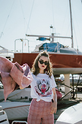Andreea Birsan - Cat Eye Sunglasses, Pink Plaid Blazer, White Guns And Roses T Shirt, Pink Plaid Trousers - Feeling myself