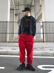 ★masaki★ - Neuw Denim Relaxed Bomber, The Clash Guns Of Brixton, Comme Des Garçons Ny Worker Pants, Nike Air Monarch - Relaxed