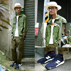 John Kuo - Euca Andino Panama Hat, Global Work Military Shirt, New Balance 247, Timex Military Watch - Getting chill